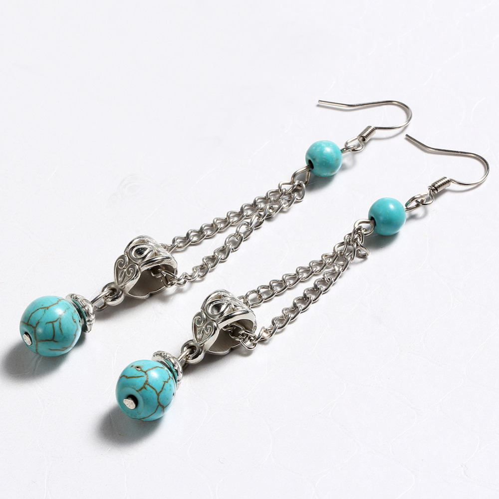 Exotic fashion jewelry - Zoshi Vintage Tibetan Silver Plated Turquoise Vintage Exotic Drop Dangle Fashion Earrings Wholesale Jewelry For Girls