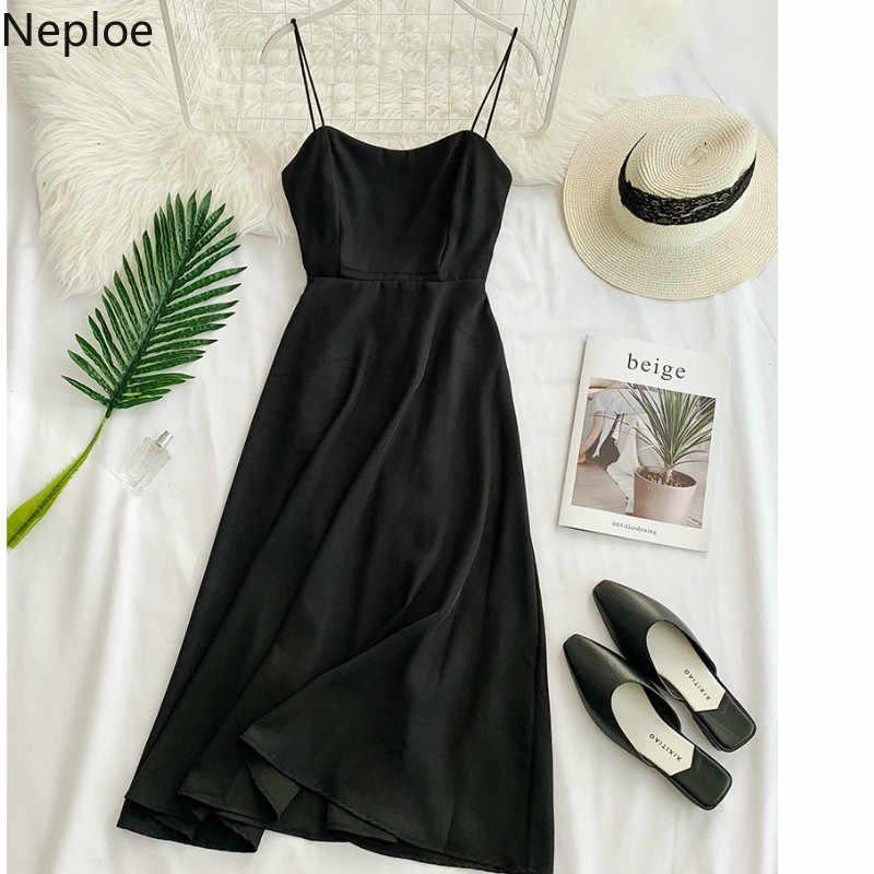 Neploe Новое шифоновое женское платье с открытой спиной 2019 корейское свободное летнее платье без рукавов с высокой талией Vestido Повседневное платье с вырезом лодочкой Jupe 43052