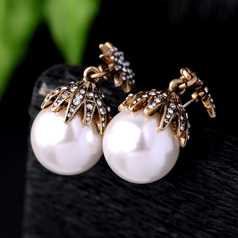 Jewelry Simulated Pearl Ball Dangle Earring High End Wedding Jewelry