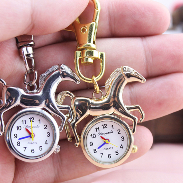 Fashion Picture gold silver Cute Horse Pocket Watch key chain Silver Women Ladie