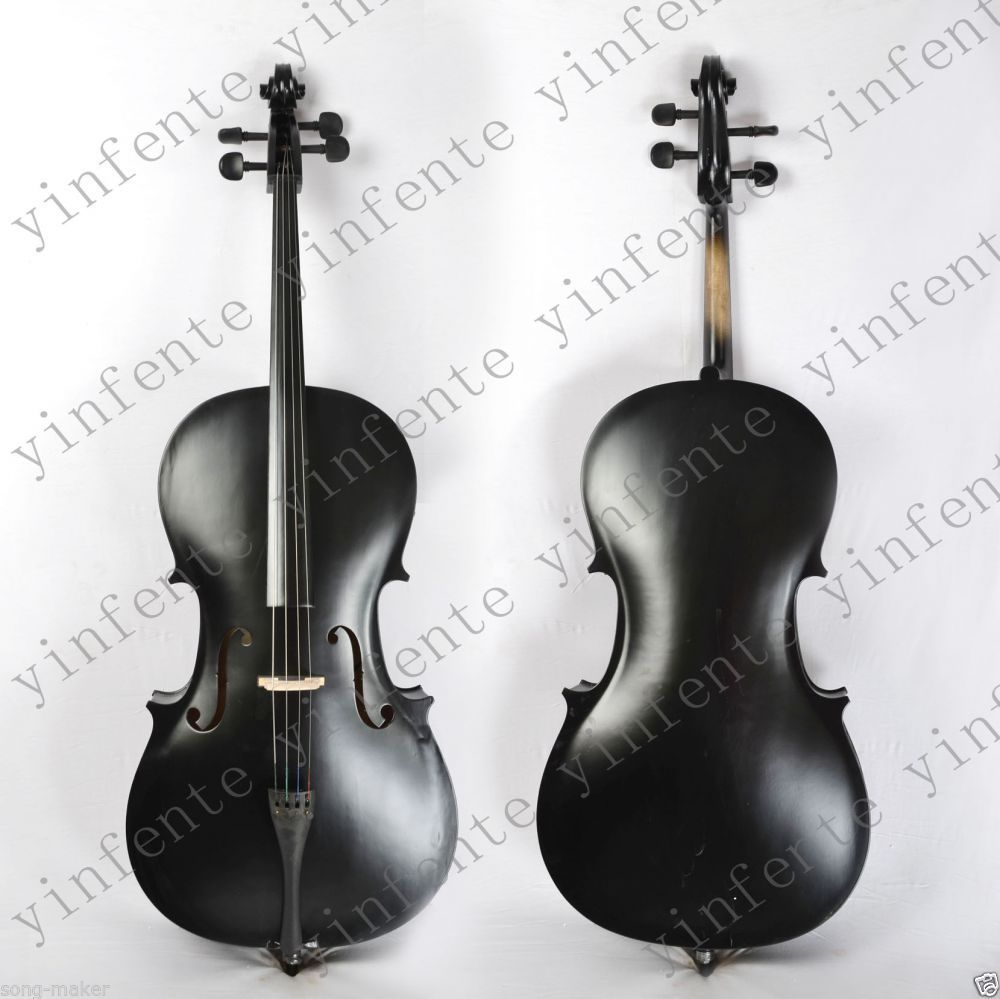 Cello 4/4 New Electric Acoustic Cello Nice Sound Solid wood   black 4 string #1 4 4 new 4 string electric acoustic violin solid wood nice sound brown color