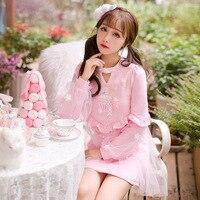 Candy rain Princess sweet lolita dress Princess Sweet lace puff sleeve fluffy princess dress C22CD6158