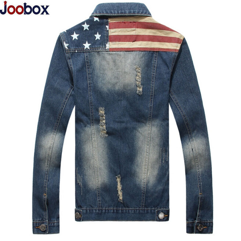 2017 Casual denim jacket Men USA Design hole Mens Jeans Jackets Hip Hop Turn-Down Collar Fashion Slim Mans Jeans Clothing