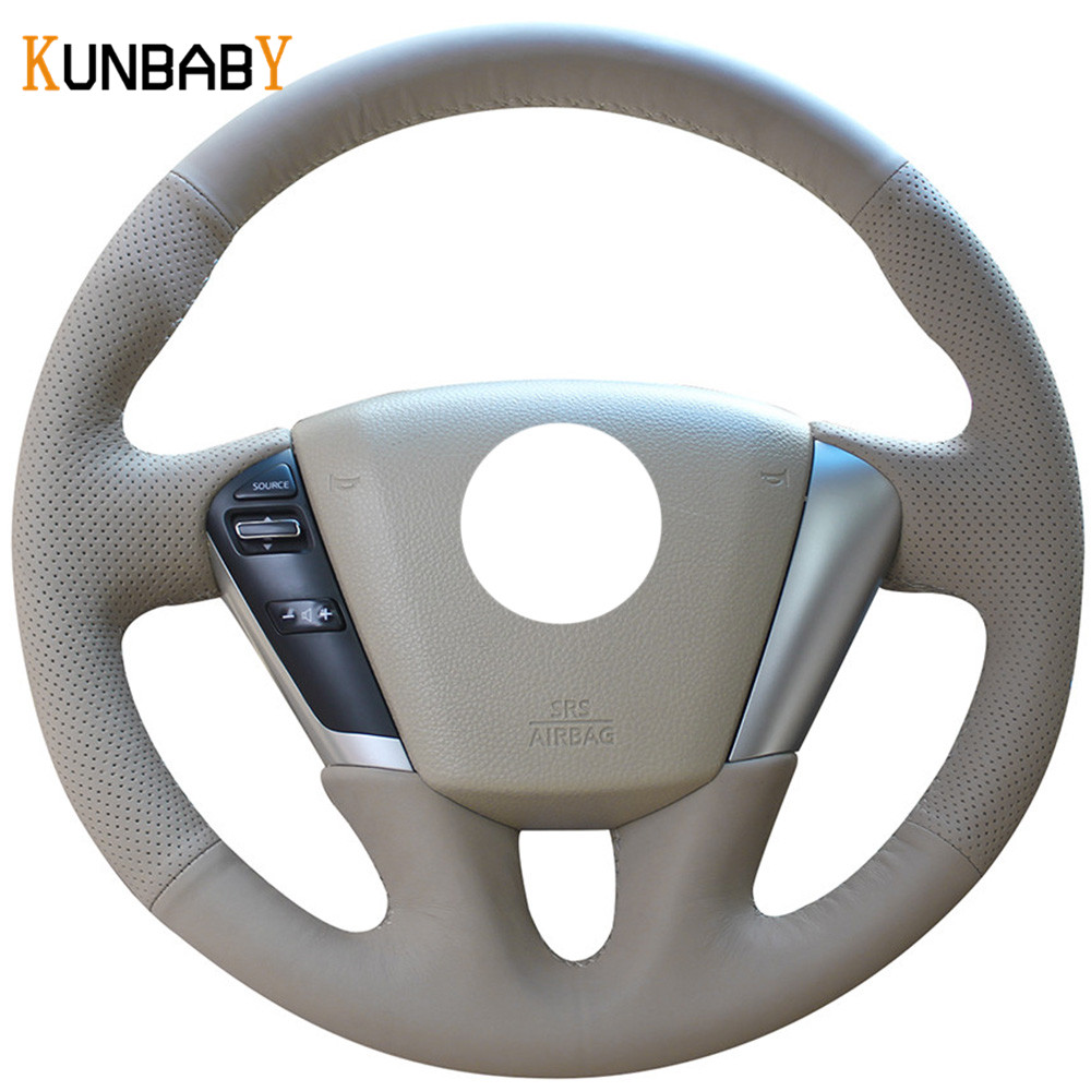KUNBABY Beige Genuine leather Car Steering Wheel Cover for Nissan Teana 2008 2012 Murano 2009 2014