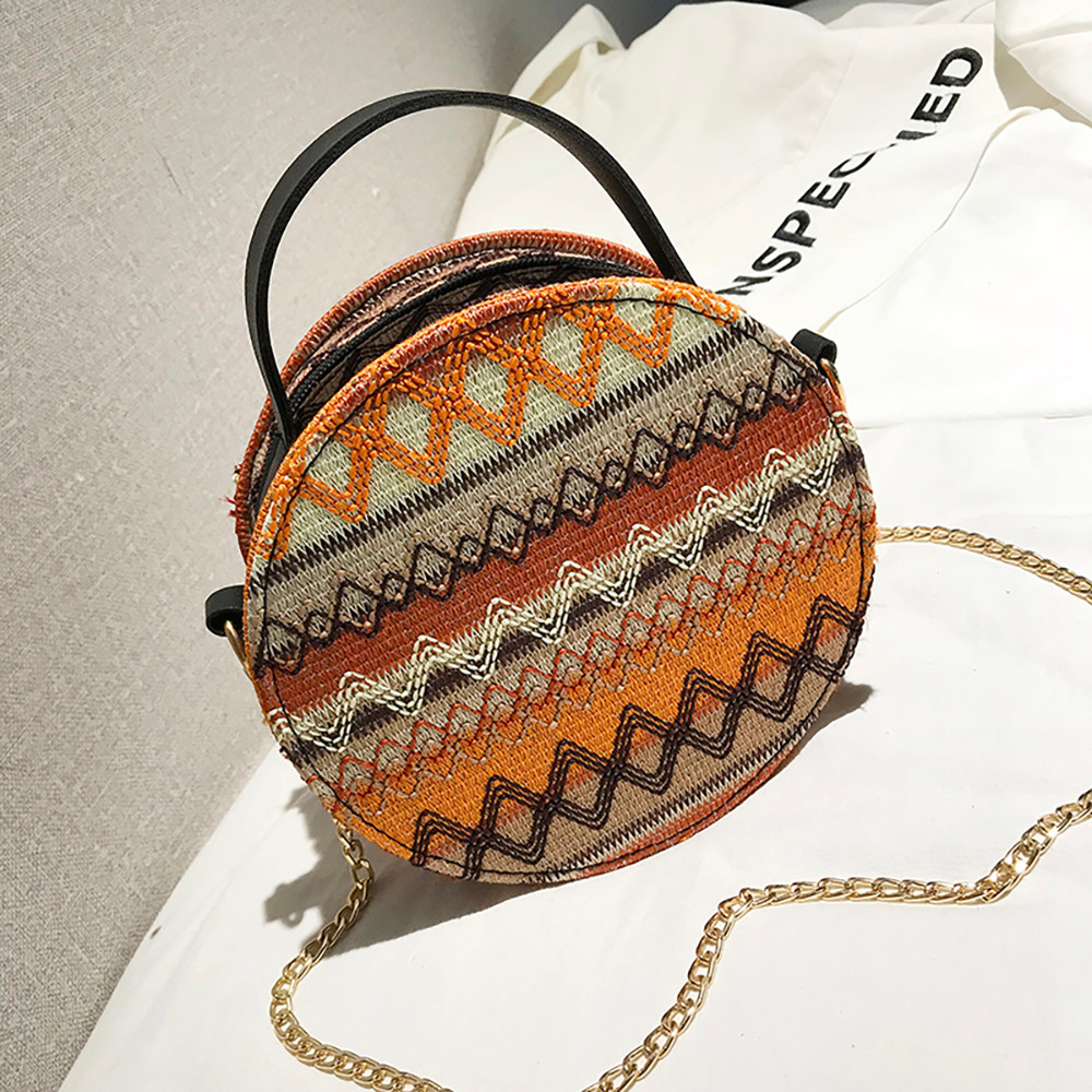 Women Tassel Chain Small Bags national wind round bag packet Lady Fashion Round Shoulder Bag Bolsos Mujer#A02 112