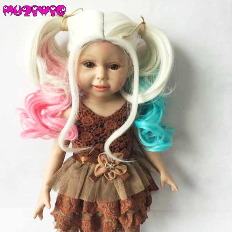 """Бесплатная доставка синтетический парик для волос с 2 хвостиками косплей парик для 18 """"американская кукла 860"""