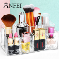 ANFEI High Quality Clear Lipstick Stand Makeup Brushes Case Makeup Organizer Cosmetic Display Household Decoration Storage Box
