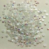Envío libre! SS20 4.8mm resina flatback rhinestone jelly blanco AB 14 facetas para la decoración del arte del clavo, 10000 unids/bolsa