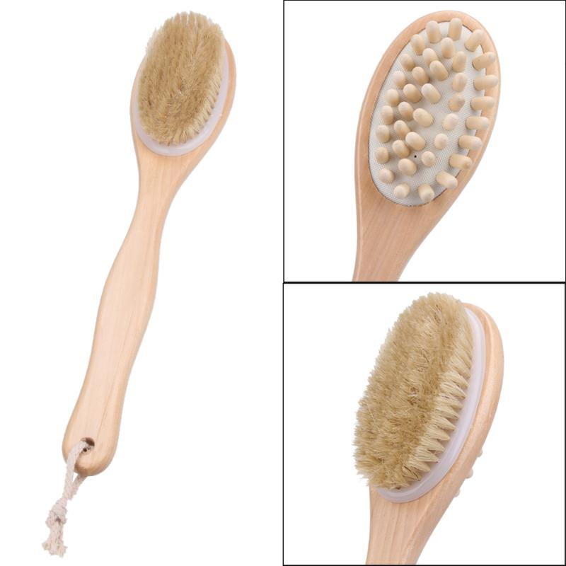 35cm 2-in-1 Sided Bath Brush Natural Bristles Scrubber Long Handle Wooden Spa Shower Brush Bath Body Massage Brushes