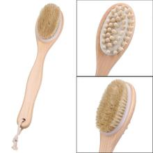 35cm 2-in-1 Sided Bath Brush Natural Bristles Scrubber Long