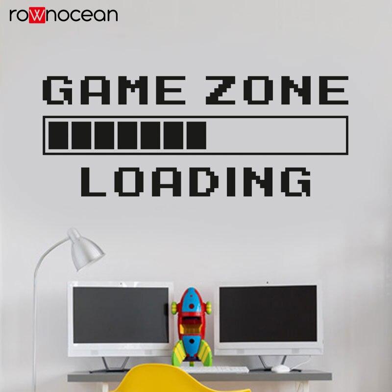 Pièce de jeu décor à la maison ordinateur jeu vidéo Zone chargement décalcomanie mur citation murale Gamer signe vinyle mur autocollant salle de jeux décor 3094