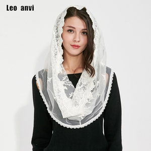 Image 1 - Muslim Hijab Jersey pashmina shawls india Femmes Women scarf cotton lace ivory whiter Head Scarf Full Cover Inner Coverings