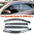 4PCS Chrome Trim Window Vent Visors Rain Guards Sun Shield For Hyundai Santa Fe 2006-2012