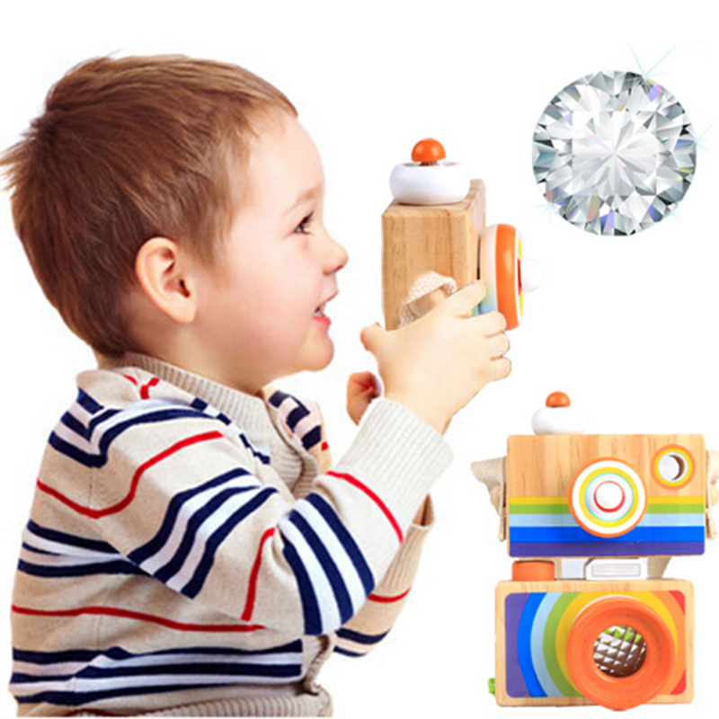 Cute Wooden Toy Camera Baby Kids Hanging Camera Photography Prop Decor Children Educational Toy Birthday Christmas Gifts