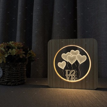 Love the balloon 3d design Wooden acrylic lights desk lamp warm lighting led dropshipping Valentine's Day gift for lovers