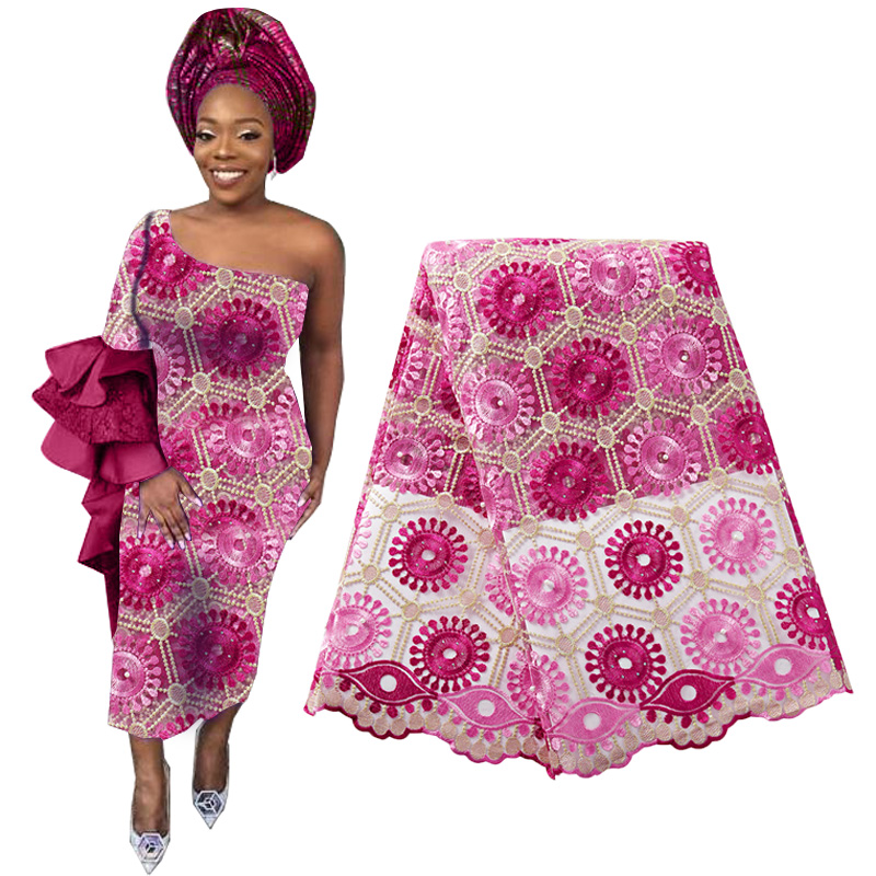 High Quality African Beaded Lace Fabric French Voile Lace Embroidery Flower Nigerian Lace Fabric Aso Oke Gele Headtie Scarf