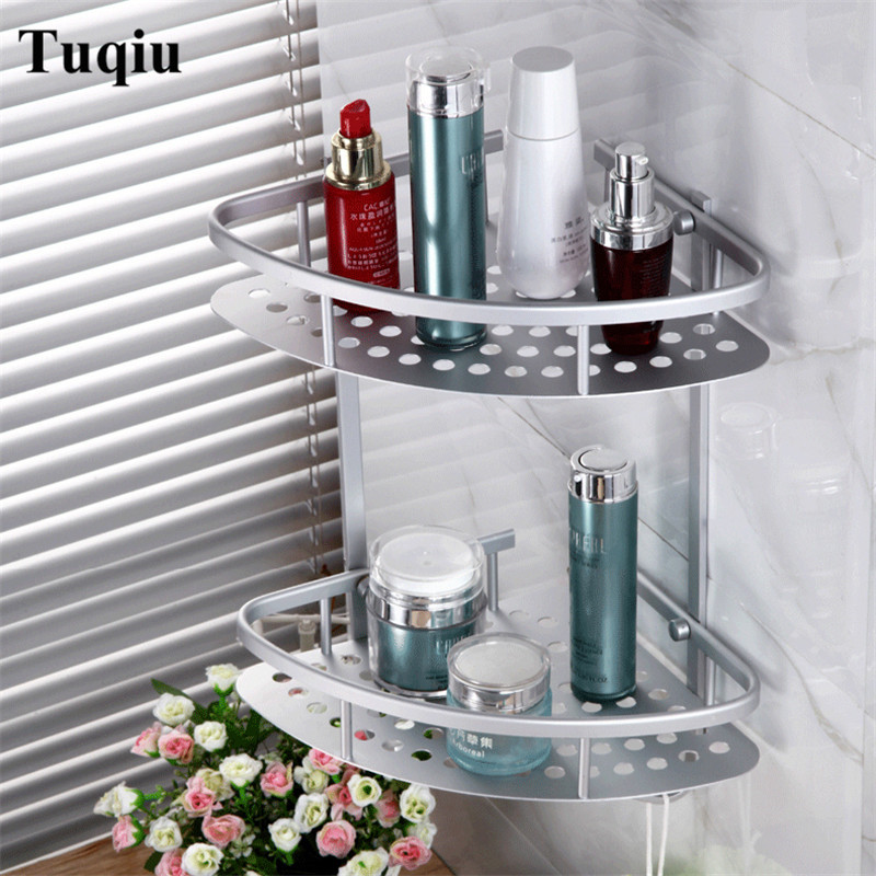 Bathroom Shelves 1-3 Tier Metal Wall Mounted Shower Corner Shelf Washing Cosmetic Basket Bath Bathroom Accessories Towel Hook bath shelves bathroom shower shelf folding with towel bar robe hook