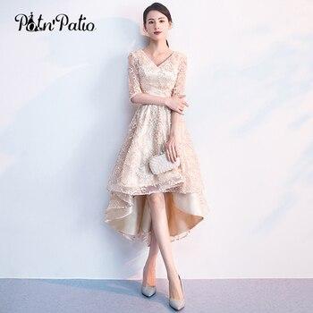ed5988a3a De encaje Champagne corto vestidos de baile 2019 elegante cuello en V con  mangas medio alta baja y baile de graduación vestidos Plus tamaño vestidos  de Gala