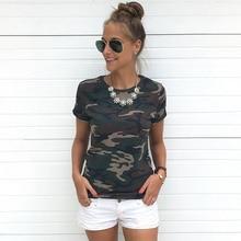 Fashion T-shirt Female Blusa Tumblr Camouflage Prints Tops S
