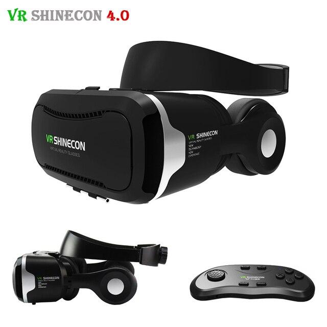 2017 Shinecon VR 4.0 Virtual Reality 3D Glasses Headset VR BOX +Headphone/Mic for3.5-5.5' Mobile Smartphone +Original Controller