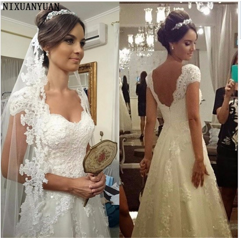 Stunning Beautiful Cap Sleeve Lace Appliques Wedding Dress Bridal Gown Custom Made 2020