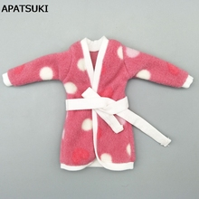 Mini Doll Accessories Bathrobe Bathroom Suits Winter Pajama Wear Sleeping Casual Clothes For Barbie Doll Play