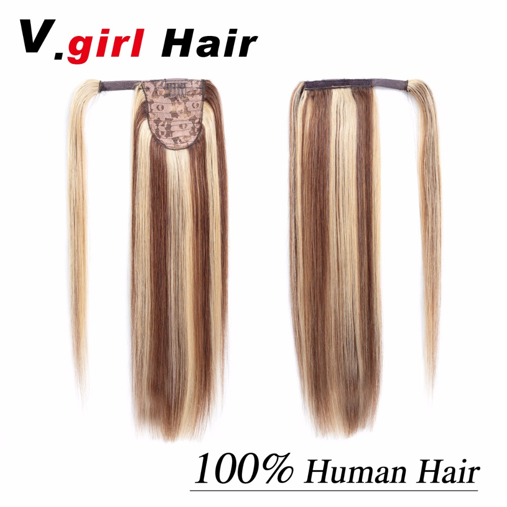 V.girl Hair Ponytail Human Hair Clip In Machine Made Remy Hairpieces Straight Clip In Hair Extensions 14Inch-26Inch 12/613#