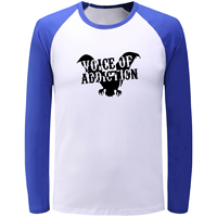 Voice Of Addiction Pattern Patchwork Full Sleeve T Shirt Men Women Casual Black Blue Raglan Tshirt