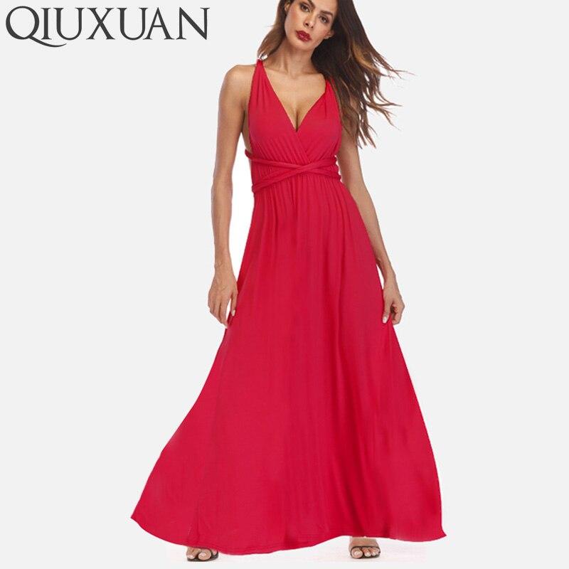 QIUXUAN 20 Colors Summer Maxi Party Dress Multiway Swing Dress Fashion Sleeveless Convertible Infinity Robe Wrap Dress