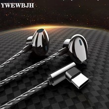 YWEWBJ Stereo ear headphones headset wired control bass audio earbuds 3.5mm C-type headphones mobile gaming headset for Huawei все цены