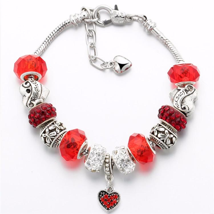 17KM Vintage Silver Color Charm Glass Bracelets For Women 17 New Crystal Heart Beads Bracelets & Bangles Pulseras DIY Jewelry 39