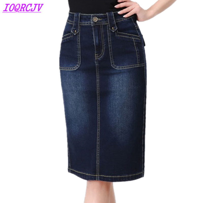 Denim Skirt For Womens 2018 Spring Summer High Waist Package Hip Skirt Plus Size S-6XL Jeans Skirt Slim Female Sexy Skirts H425