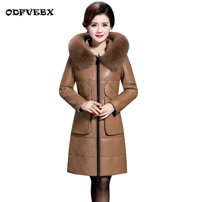 Parkas Winter fur coats female thick Size 6XL loose Fur collar   leather   jacket fat mm medium long warm women's PU fur down jacket