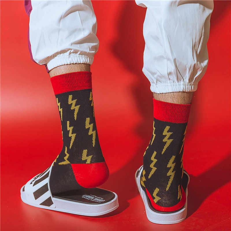 Homens Engraçados Halajuku humorada meias Criativo Relâmpago tubarão dinossauro meia Hip Hop Rua Skate basquete Meias Unisex