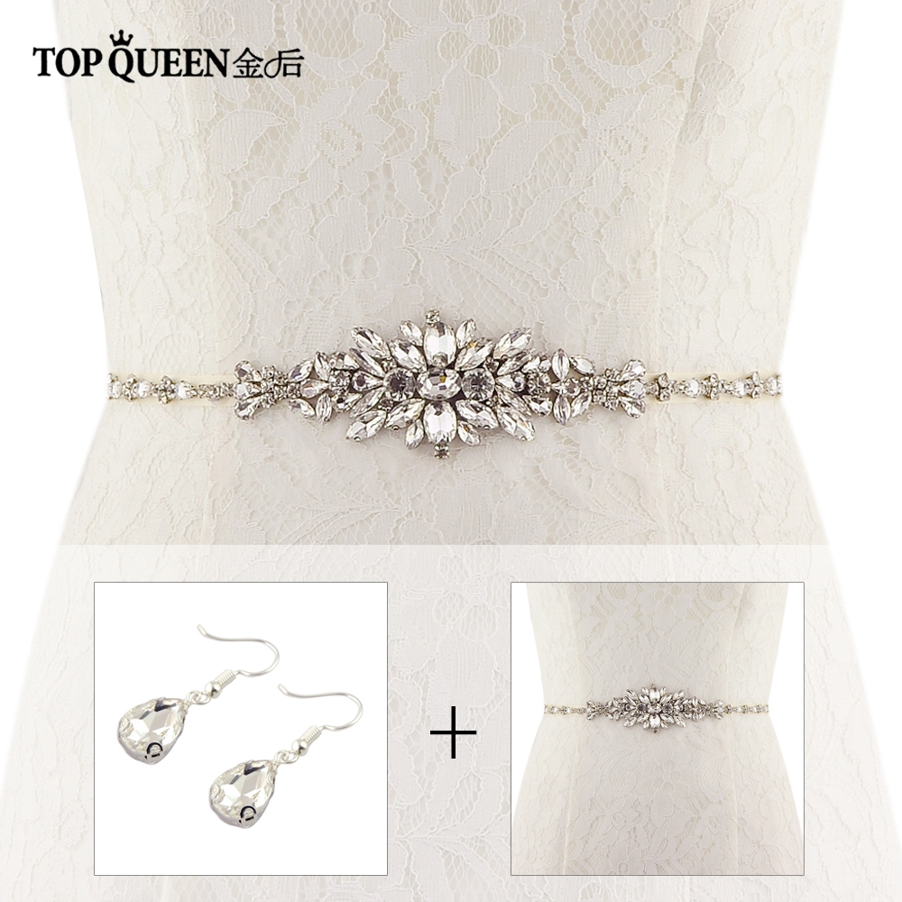 Wedding Gowns Accessories: TOPQUEEN S352 Bridal Belt Wedding Belt Crystal Rhinestone
