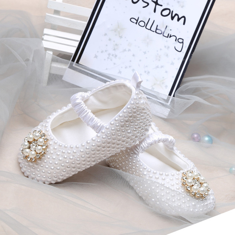 Profession Custom Crystals Rhinestones Baby Newborn Shoes Infant Princess Girl Satin First Walkers Shoes Pearl Accessories Shoes