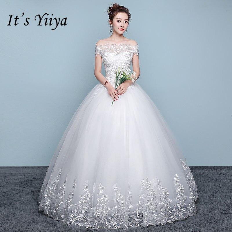 Simple Wedding Dresses Boat Neck: Aliexpress.com : Buy It's YiiYa New Lace Wedding Dresses