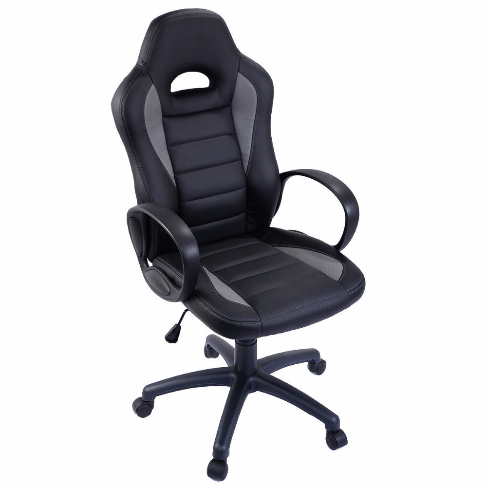 Goplus PU Leather High Back Office Computer Chair Executive Race Car Style Bucket Seat Swivel Modern Gaming Chair HW51513 240340 high quality back pillow office chair 3d handrail function computer household ergonomic chair 360 degree rotating seat