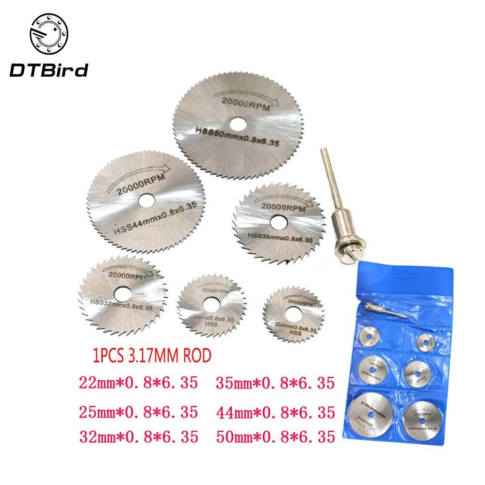 6PCS HSS Rotary Tool 22 /25 /32 /35 /44 /50mm Circular Saw Blades Cutting Discs Mandrel for Dremel Cut off 60mm diamond saw cut off discs wheel blades rotary tool set shank for dremel