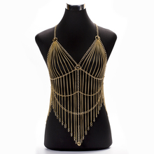 Wholesale Sexy Body Bikini Crystal Bra Chain Multilayer Long Tassel Aluminum Gold Silver Color Halter Belly Jewelry for Women stylish solid color multilayer chain bikini body chain for women