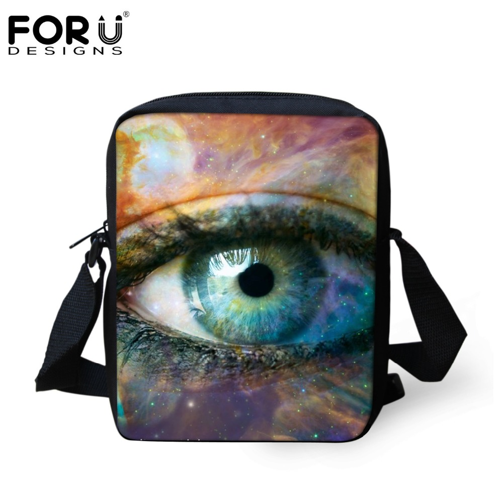 FORUDESIGNS Customize Casual Men&Women Messenger Bag Unique Big Eyes Pattern Kindergarten Kids Shoulder Bag For Baby Sac a main