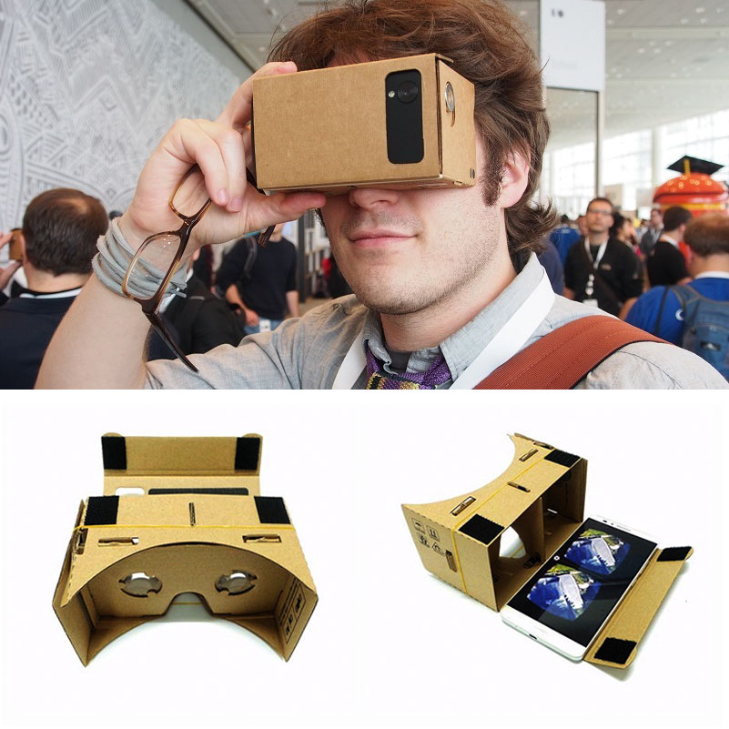 Hot Sale Virtual Reality Glasses Cardboard Glasses 3D Glasses DIY Box Movies for iPhone 5 6 7 SmartPhones VR Headset