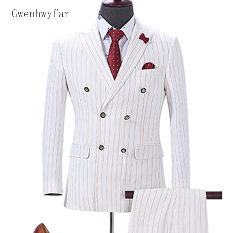Gwenhwyfar 2018 Striped Suit Men Slim Fit Blazer Groom Tuxedo Printed Mens Suits For Wedding ...