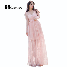 The New 2016 Autumn Hot Sell Fashion Outfit V-neck Holiday Split Two Colors Black Pink+ Belt Long Dress