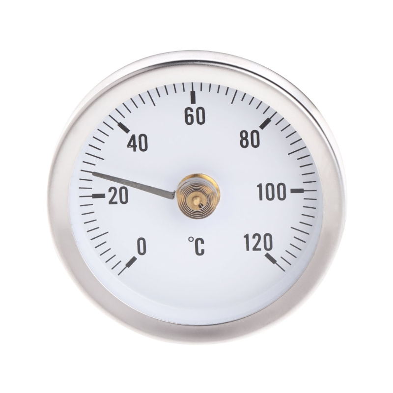 OOTDTY 0~120C 63mm Dial Stainless Steel Clip-on Spring Temperature Testing Gauge Thermometer Bimetal Surface Pipe Thermometer remote bimetal thermometer with capillary dial 3