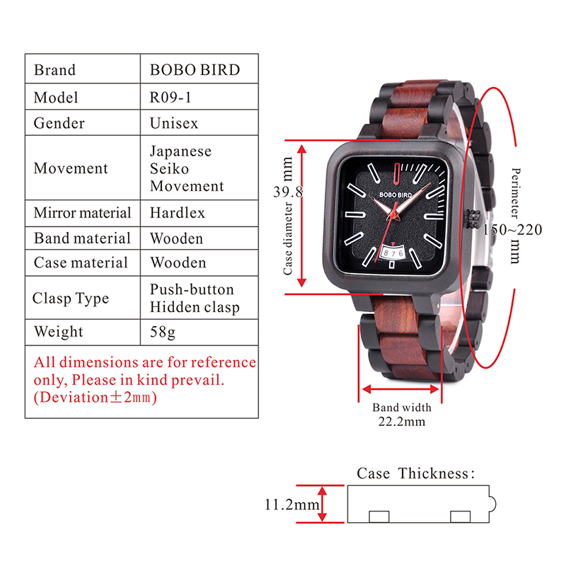 BOBO BIRD Square Design Stylish Wooden Watch For Men With Box 11