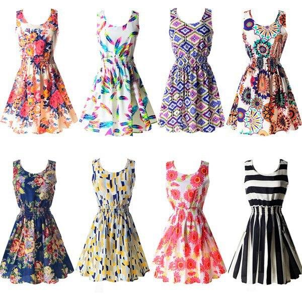 19 Summer Sundress Fashion Women Sexy Printed Chiffon Sleeveless A-line dress Beach Floral Tank Dresses 1