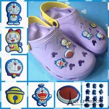 Free shipping 100pcs lot Japan Anime Doraem clog sandal font b shoe b font charms buttons