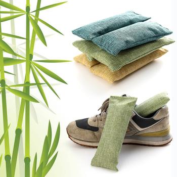 2 sztuk paczka bambusowe woreczki z węglem śmierdzącym usuwaniem szafy z węglem aktywnym dezodorant dezodorujący buty tanie i dobre opinie Węgiel aktywny Torby Shoe Deodorant Buta Pokój Szafy i Szafki Random 17*7 5cm 6 69*2 95 07-10 Closets Desiccant
