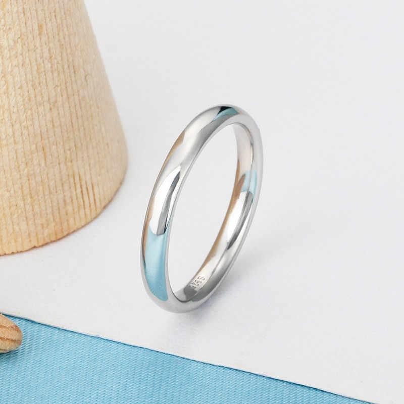 Eternal Classic 100% 925 srebrny pierścień proste akcesoria mody z biżuterią prezent